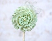 Pastel Mint Sola Wood Mum & Lace Boutonniere - Sola Wood Flower, Lace - Groom, Groomsmen, Pin-On Corsage, Wedding Boutonniere, Button Hole