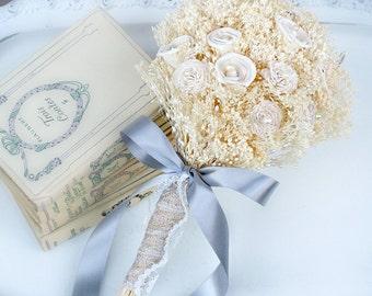 Rustic Vintage Bouquets, Cream Ivory Bouquet, Bridal Bouquets, Sola Flowers, Baby's Breath, Bridesmaids Bouquets, Wedding Bouquets