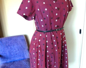 SALE - Beautiful 1950's French Vintage Burgundy Cotton Embroided Dress, Size M