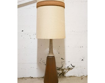 Mid Century Tall Ceramic Lamp on Wood Base