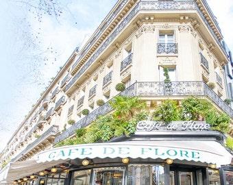 Paris Photograph, Cafe de Flore, Large Wall Art, Paris Decor, Paris Wall Art, French Kitchen Decor, Travel Photograph