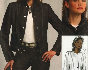 """PATTERN Vogue 1036 Jacket with/out collar hip length panels pockets denim jean moto Sizes A-J Bust 32-55"""" Today's Fit Sandra Betzina (uncut)"""