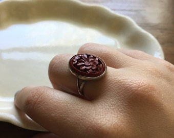 Vintage Sterling Silver Cinnabar Taxco Mexico Signed Floral Ring DESTASH AS IS