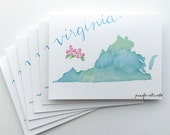 S/6 watercolor virginia state notecard set blank cards stationery