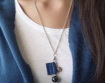 Tardis journal necklace, Doctor Who Tardis journal, River's journal necklace, Book Charm necklace, Book miniature necklace