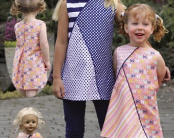 Geo / A- Line Dress Pattern / Tunic Pattern / Leggings Pattern  / Matching Doll Dress / Easy / by Olive Ann Designs.