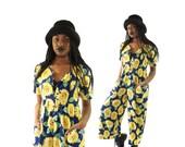 Designer Early 90s Palazzo Sunflower Romper, Rare 90s Designer Jumper, 90s Grunge, Women's Size Medium/Large