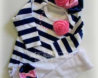 Newborn Girl Coming Home Outfit, Navy and pink Onesie, beanie hat and leg warmers, Baby Girl Take Home Outfit, Baby Girl Clothing Set