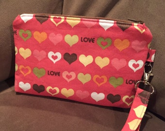 Wristlet, Make-up Bag, Purse, Cosmetic Bag, Purse Organizer, Love, Hearts, Pink, Valentines, Mini Clutch