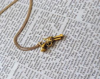 Gun Necklace -- Revolver Pistol Necklace, Gold or Silver Gun Necklace