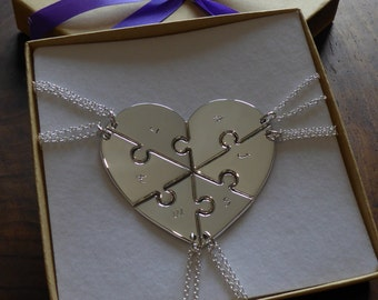 Six Piece Handmade Heart with Initials, Pendant Necklaces