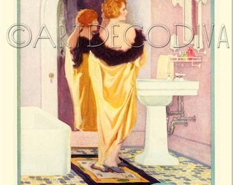 Vintage 1920's DECO Bath Tub Sink Pink Bathroom REDHEAD Yellow Robe Girl Hair Beauty Style Poster Fine Art Print