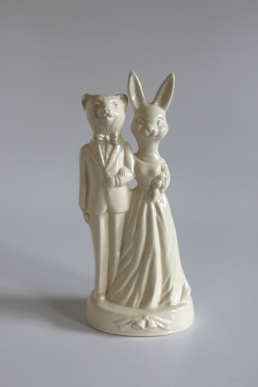 Bear Weds Bunny Handmade Ceramic Wedding Cake Topper