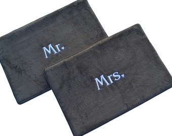 Bath Mat Set of 2 Charcoal Gray or Khaki Mr / Mrs, His / Hers Monogrammed
