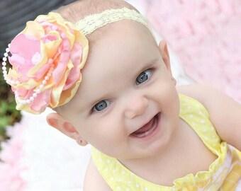 Pink Lemonade Couture Headband - lace headband