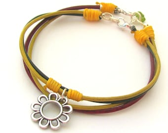 Leather Flower Bracelet, Stockig Stuffer, Daisy Boho Bracelet, Flower girl bracelet, Hippie Jewelry, Women Gift