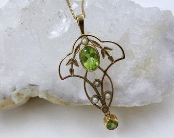 Antique Peridot 9k Seed Pearl Pendant,Art Nouveau Pendant, Antique Gold Peridot Lavalier Pendant, 14K Gold Chain, August Birthstone,