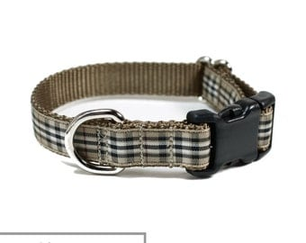 "Gold Pride of Scotland Tartan Dog Collar - 3/4"" (19mm) Wide - Tan Plaid - Martingale or Quick Release - Choice of collar style and size"