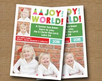 "Printable Christmas Card   ""Joy to the World Colorblock"" Multi Photo Card   DIY PRINTABLE   Christian, Scripture, Bible Verse Christmas Card"