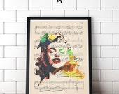 Norma Jean Original Avant Print Artwork Print on Unframed Upcycled Bookpage