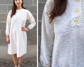 textured white cotton knit dress / 1960s bohemian
