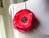 "Navy Coral Pink Silk Flower Pin 4"", Large Fabric Flower Pin, Floral Brooches Women's Gift, Organza Satin Flower Brooch, Beaded Blue Crystal"