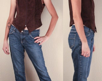 1990's Chocolate Brown Suede VEST // Danier Leather // Size Small