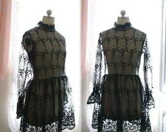 Bohemian Goth Gothic Black Lace Sheer Victorian High Collar Wedding Dress Bell Long Sleeves Women's  Robe Bridal Slip Gypsy Shabby