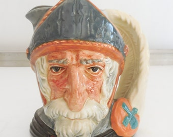 """Small Don Quixote Toby Jug Plume Feather Handle 4"""" Royal Doulton c1956"""
