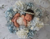 NEWBORN FLOWER CROWN {Bella} Floral Crown - Newborn Halo - Newborn Headband - Newborn Photo Prop - Newborn Crown - Photography Props