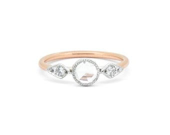 The Rose Ring - 18ct Gold Rose Cut Diamond Engagement Ring