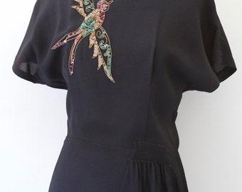 Vintage Black Dress With Sequin Detail Film Noir Style