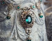 EMERALD BIJOU Victorian Bridal Necklace, Heirloom Renaissance Bridal Necklace, Custom Options Available