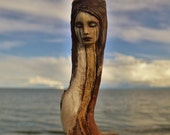 Sorry and Joy, Hollow Driftwood Sculpture, Healing Wand Talking Stick by ShapingSpirit