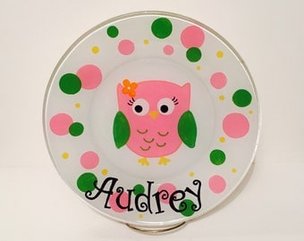 Kids Hand Painted Owl Plate - Made to Order