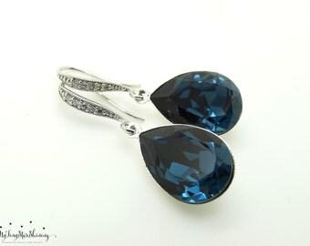Bridal Earrings Royal Blue Earrings Wedding Jewelry Swarovski Crystal Montana Blue Teardrop Earrings Bridesmaid Jewelry Bridesmaid Gifts