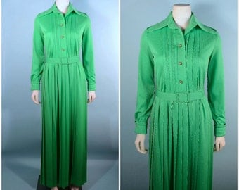 "Vintage 70s Mod Bright Green Pleated Maxi Dress/Rhinestone Buttons Day to Evening Party Hostess Dress/Belted Fitted Waist 25"" Ivan Fredrics"