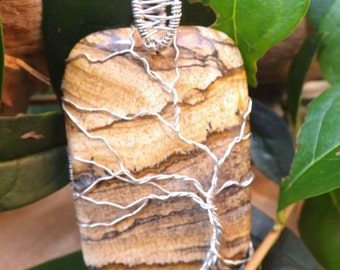 Tree of life pendant, wire wrapped picture Jasper