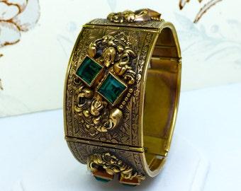 HALF OFF SALE Vintage Ornate Repousse Gilt Metal Floral Hinged Panel Cuff Bracelet
