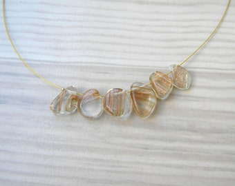 Glass bead gold necklace, handmade glass gold beaded necklace