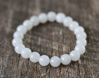 White Jade Bracelet, Beaded Bracelet, Mens / Womens Bracelet, Gemstone Bracelet, Stackable Yoga Bracelet, Healing Stones, Gifts