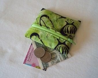 Coin Purse, Zipper Pouch, Change Purse, Wallet, green, bright green, batik, black
