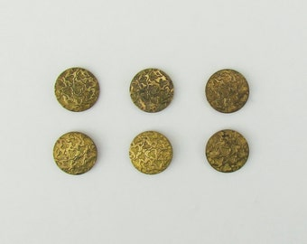 Set of 6 Victorian metal buttons, antique brass buttons with embossed leaf pattern made in Paris