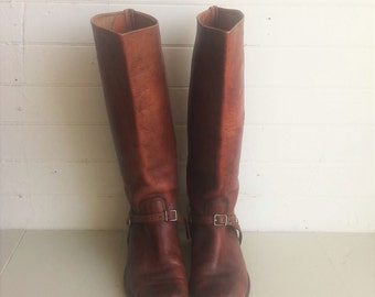 Vintage all leather riding boots . Harness boots .  Size 9 - 10