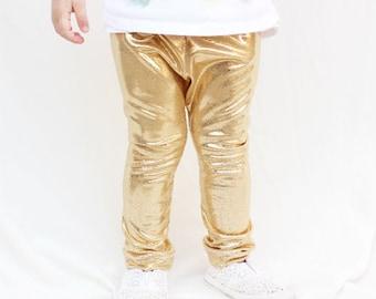 Baby Metallic Gold Leggings, Baby Clothing, Baby Leggings, Trendy Baby Pants, Shiny Leggings, Modern Baby Leggings, Gold Baby Leggings