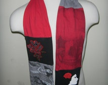 RESERVED FOR A  Day of the Dead Women Upcycled t-Shirt Scarf