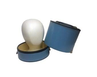 Vintage Wig Case - Vintage Round Hat Box, Powder Blue Wig Box, Retro Mod Wig Carrier, Mid Century Modern, Small Hat Box, Travel Luggage Tote