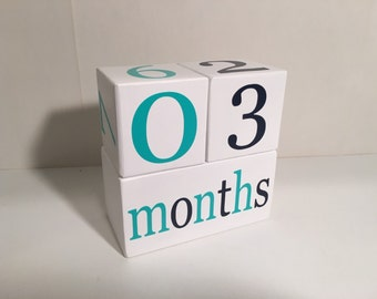 Baby Age Blocks, Wooden Milestone Blocks, Photo Prop, Navy and Aqua or Custom Color