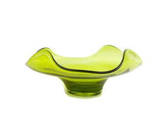 Vintage Avocado Green Art Glass Bowl Folded Sides Crimped Corner Bowl Pedestal Olive Dish Blown Glass Candy Dish