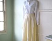Reserved for Heather:  Yellow Stripe Midcentury Cotton Blend Skirt - Striped Full Vintage Skirt; Med-Small - Socks Loafers Schoolgirl Teach